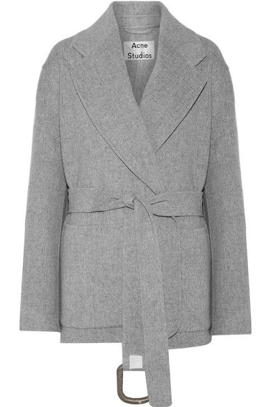 CASHMERE, ALWAYS: Acne Studios' 'Lilo Doublé' coat is designed for a loose fit. Cut from a blend of wool and cashmere, it is detailed with notched lapels, knuckle-skimming sleeves and a belted waist for definition. The versatile light-gray hue lends itself to a host of styling options.