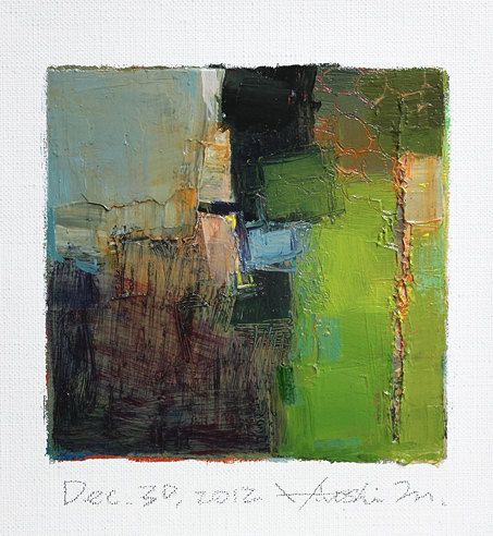 Dec. 30, 2012 - Original Abstract Oil Painting - 9x9 painting (9 x 9 cm - app. 4 x 4 inch) with 8 x 10 inch mat. $60.00, via Etsy.