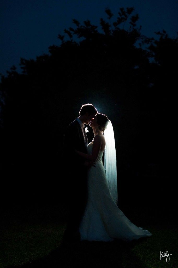 backlit night wedding shot