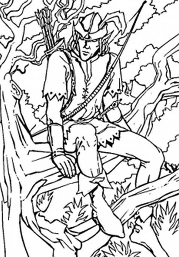 Robin Hood Sitting On Tree Branch Coloring Pages : Best