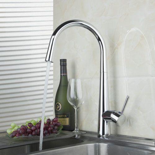 Swivel 360 Spray Polished Chrome Deck Mounted Single Hole Kitchen Cozinha Torneira Faucet Mixer Tap