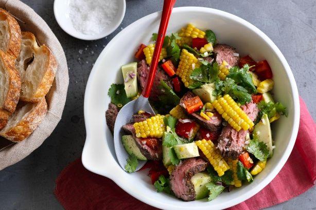 Jerk beef fillet and corn salad main image