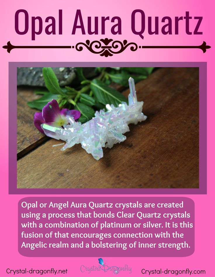 Metaphysical information about Opal/Angel Aura Quartz, shown in cluster