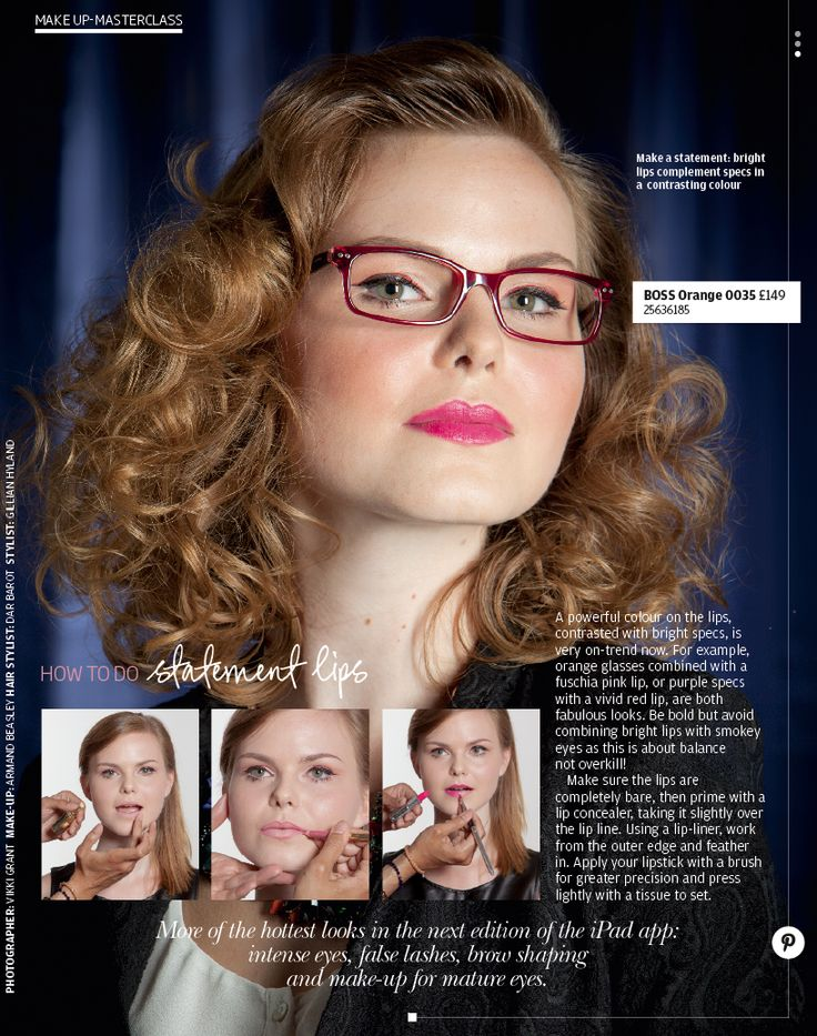 Statement Lips. A powerful colour on the lips, contrasted with bright specs, is very on-trend now.