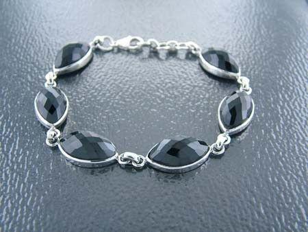 925 Sterling Silver Bracelet w/ Slim Oval Black Spinel Gems (Order)
