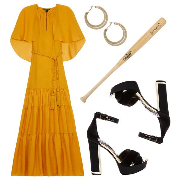 """Beyoncé - 2016 was her year with the release of her highly acclaimed and fan-obsessed feminist visual album Lemonade. Emulate the now iconic Louisville Slugger moment from the song """"Hold Up"""" with a billowy floor-grazing yellow frock, platform sandals and of course a baseball bat. Boys, don't mess."""