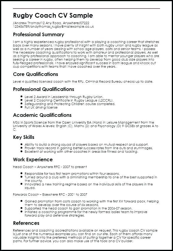 Inspiring Football Coach Cv Template Picture Design Personal Statement Example For Sport Coaching