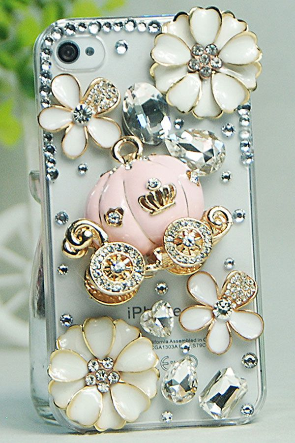 Flowers Rhinestone Case for iPhone 4 & 4S