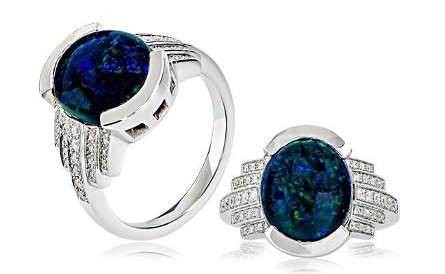 Statement Opal!  A stunning Jobson Collection creation featuring almost 6ct of natural Australian black opal and diamonds set in 18ct white gold.  Find this incredible piece at ww.anthonys.com.au  #opal #blackopal #opals #australianopal #diamonds #gemstones #engagementring #diamondring #unique #antiquering #bespoke #anthonysfj #jewellery