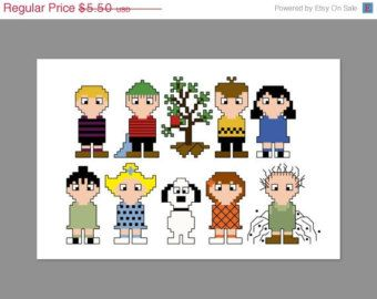 Christmas In July 20% Off Charlie Brown Christmas Pixel People Character Cross Stitch PDF PATTERN ONLY