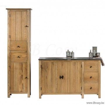 Lee&Lewis Bath Kolomkast Eik 50X200H Landelijke badkamer-Landelijk badkamermeubel