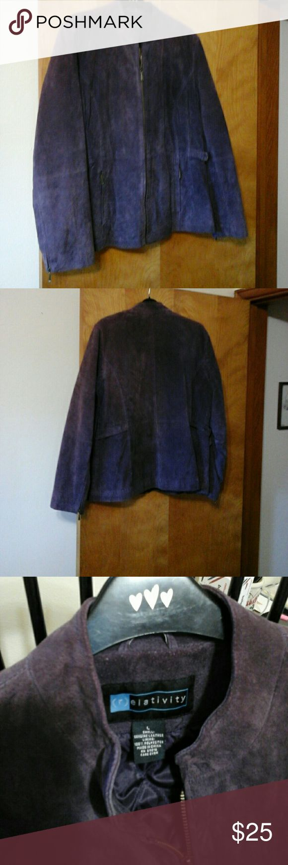 Suade leather purple jacket Real leather,  this classic purple jacket can be dressed up for a chic night look, or put with jeans for a Saturday football game.  Very versitile jacket, in great shape. Relativity Jackets & Coats