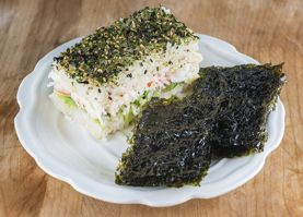 Sushi Casserole - BEST IDEA EVER!!!!! Can use for california sushi, spicy tuna, salmon and cream cheese, etc. etc. Add masago and seaweed/sesame seasoning for extra YUM!!!