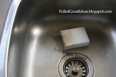 Cleaning a sink, permanent marker on a white board, etc. - Compares different methods.: Cleaning Stainless Steel, Stainless Steel Sinks, Clean Stainless Steel, Magic Erase, Clean Sinks, Stainless Stainless, Damn Spots, Clean Ideas, Great Ideas