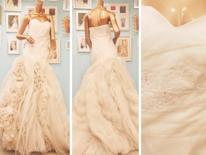 Sweetheart cut wedding gown with a lace bodice and an opulent skirt made of tulle and organza layers.