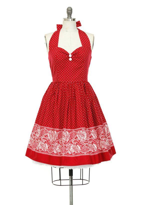 Red Summer Dress Polka Dot Dress Beach Dress por LadyMayraClothing