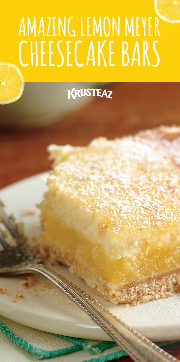 Cheesecake goodness mixed with Krusteaz Meyer Lemon Bar Mix, count me in!