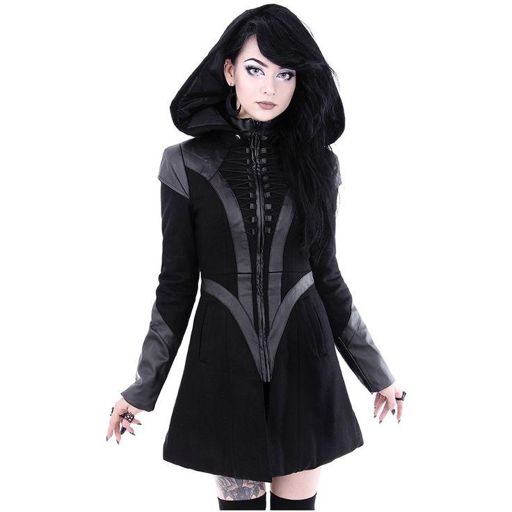 Jetzt günstig online bestellen: Wintermantel in Glockenform mit großer Kapuze Nu Goth - Entdecke die dunkle Welt von VOODOOMANIACS !