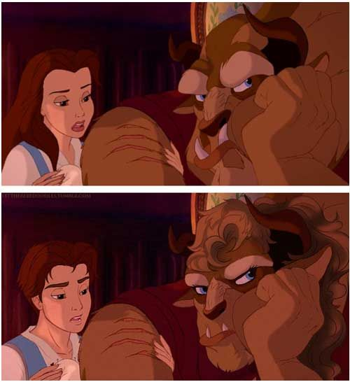 """gender roles vs beauty and the beast The older princess films had fewer speaking roles in total, and more gender balance but """"the little mermaid"""" pioneered a new style of disney movie, modeled after broadway musicals, with their large ensemble casts."""