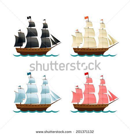 Sailing Ships Set. Vector illustration
