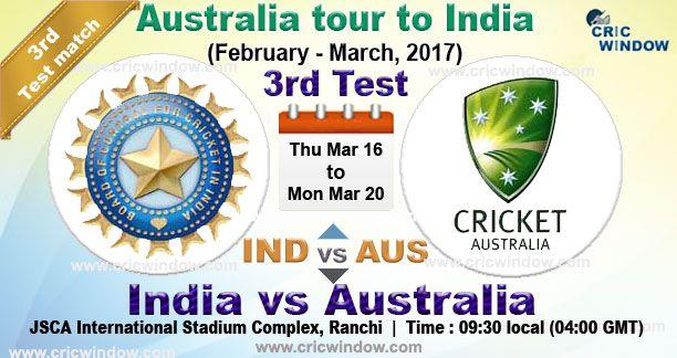 3rd Test India vs Australia Test series Live Video Streaming http://www.cricwindow.com/cricket-live-match-video.html