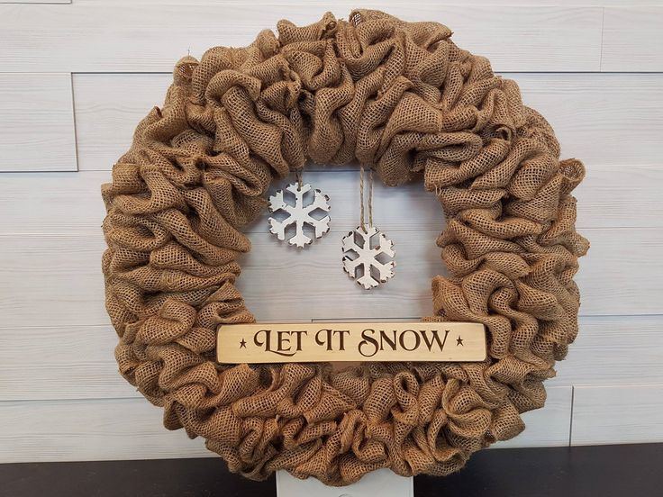 Holiday Wreath. . . #goldenforrest #goldenforrestcreations #burlapwreath #burlap #wreath #snowflakes #letitsnow #seasonaldecor #holidaydecor #christmasdecor #wreathidea #doordecor