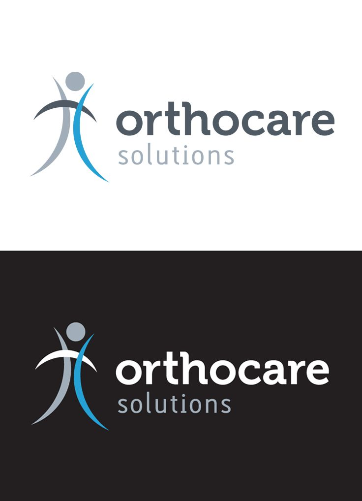 Orthocare Solutions Main Logo and Reverse by Marstudio © www.marstudio.com - Orthopedic Logo - Healthcare Logo