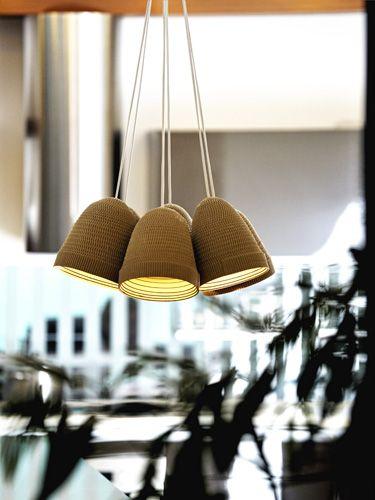 Cardboard ceiling lamps