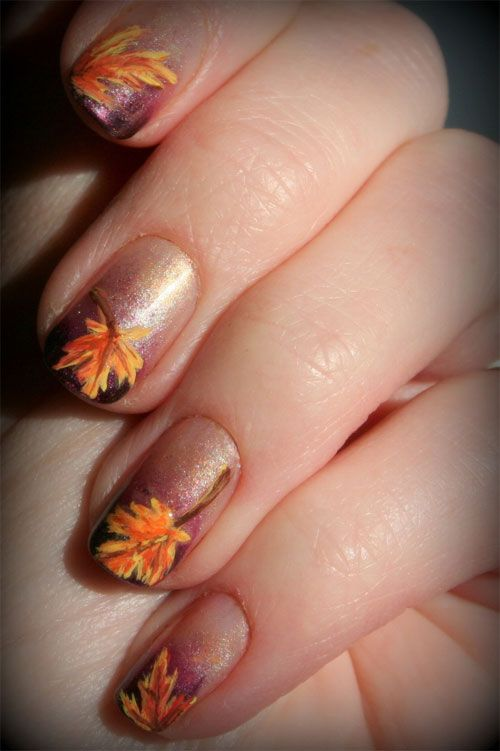 30 best fall nail designs images on pinterest autumn nails nail fall nail designs 2013 autumn fall inspired nail art designs prinsesfo Choice Image