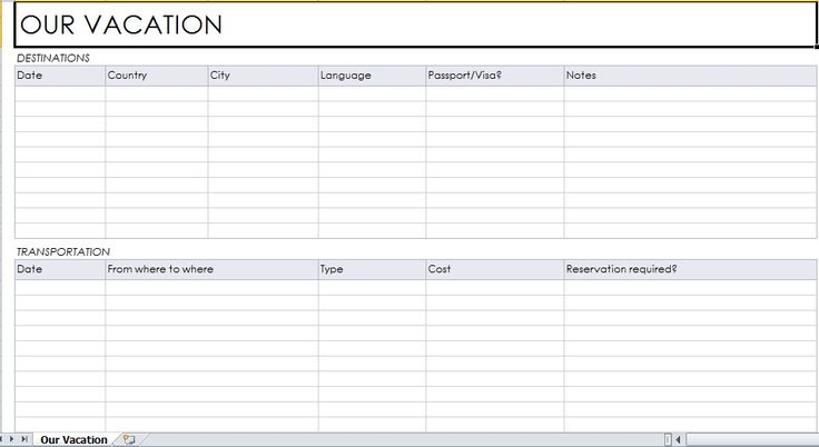 vacation planner template Excel Templates Pinterest Planner - vacation planning template