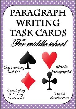 - Suitable for grades 6  8- High-interest, real-world topics- Common core aligned- Fun, playing card theme- Multiple text genres: opinion, definition, process, descriptive, narrative, cause and effect, and compare and contrast.- 4 categories covering the essential components of paragraph writing: topic sentences, supporting details, concluding & linking sentences & writing prompts- Variety of activities: multiple choice; write your own sentences; identify the supporting details and tr...