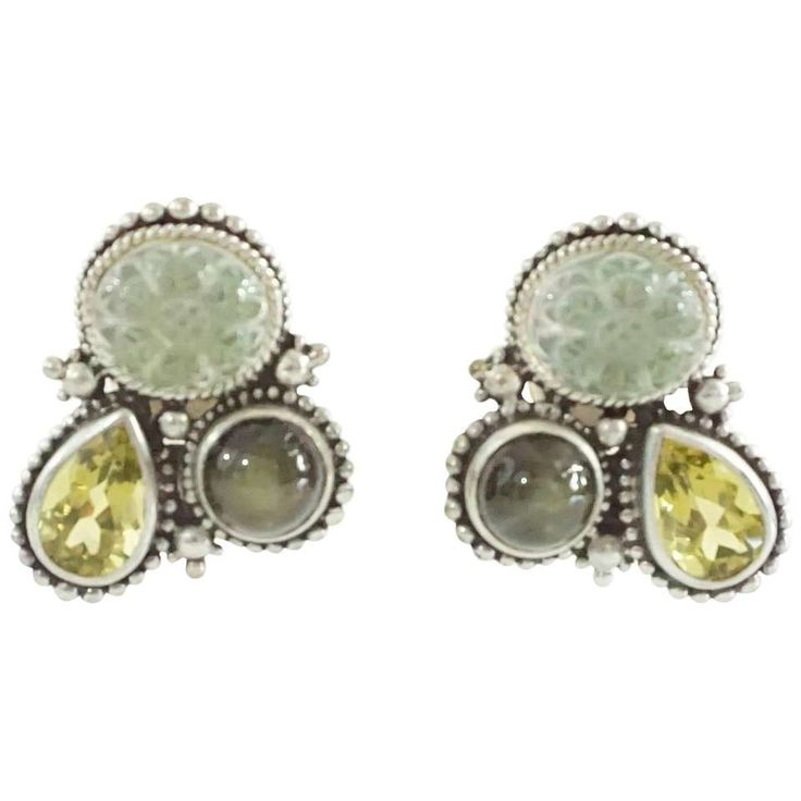 Stephen Dweck Olive Labradorite, Citrine, and Peridot Crystal Earrings - 1997 1