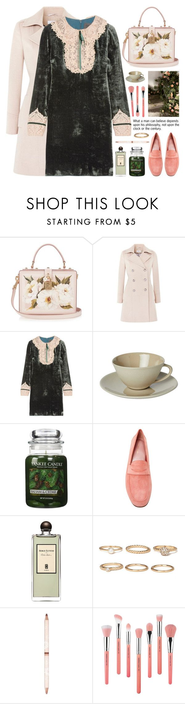 """""""lace & velvet mini dress"""" by jesuisunlapin ❤ liked on Polyvore featuring Dolce&Gabbana, Anna Sui, Mud Australia, Yankee Candle, Mansur Gavriel, Serge Lutens, Forever 21, Paul & Joe, Bdellium Tools and vintage"""