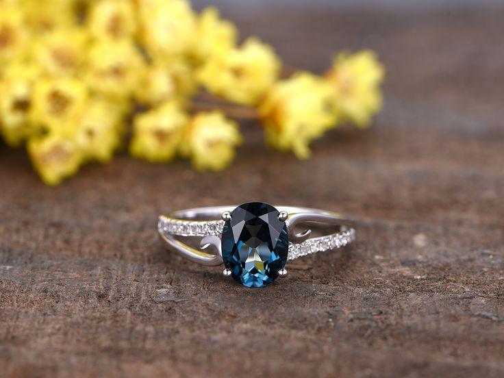 1.2 Carat Oval London Blue Topaz Engagement Ring With Diamond 14k White Gold Curved Split Shank - BBBGEM