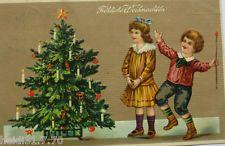 """""""Weihnachten, Kinder, Weihnachtsbaum"""" 1911, Prägekarte ♥ (10268)"""
