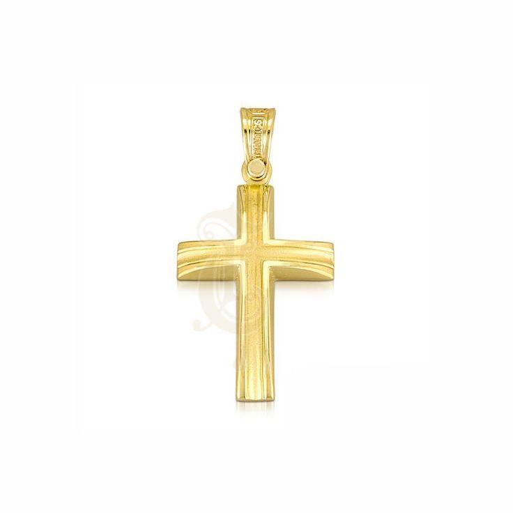 Ένας μοντέρνος βαφτιστικός σταυρός για αγόρι ΤΡΙΑΝΤΟΣ από χρυσό Κ14 σε γυαλιστερό φινίρισμα με εσωτερικό λούκι ματ | Σταυροί βάπτισης ΤΣΑΛΔΑΡΗΣ στο Χαλάνδρι #βαπτιστικός #σταυρός #βάπτισης #Τριάντος #αγόρι