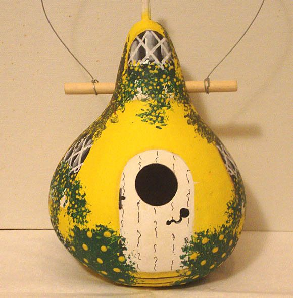 Bright Yellow and White Kettle Gourd Birdhouse, Large, Handpainted   (GBHC625) $24.00 by KaydeeCountryCottage on Etsy