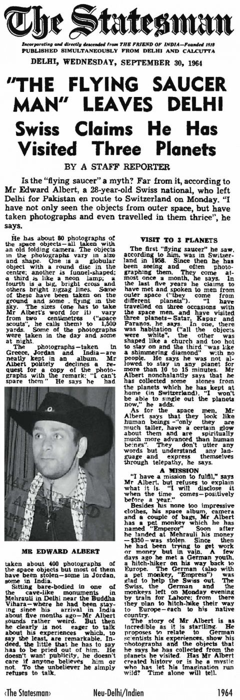 INDIAN NEWS PAPER TELLS ABOUT BILLY MEIER AND HIS CONTACT IN DELHI INDIA IN 1964