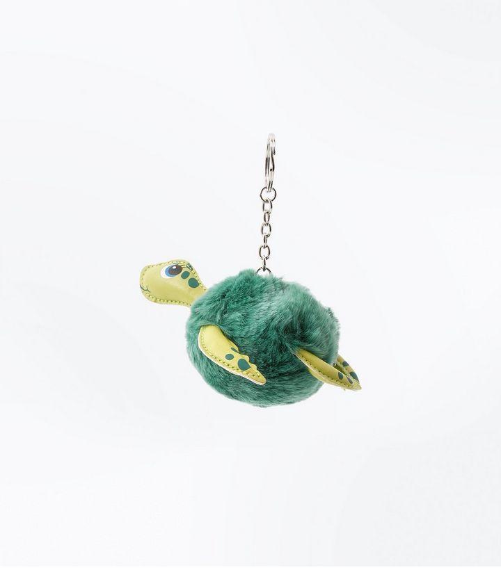 Green Faux Fur Turtle Pom Pom Keyring | New Look