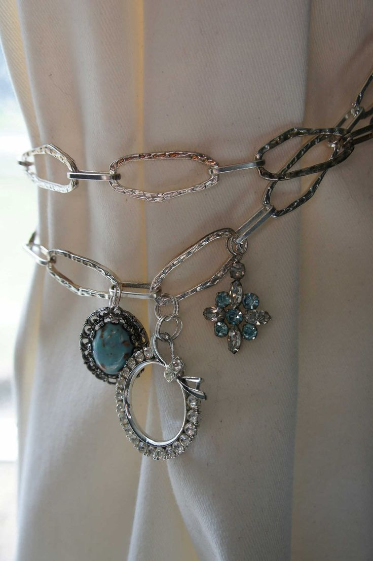 Curtain tieback silver blue chain metal vintage rhinestone for Bling jewelry coupon code
