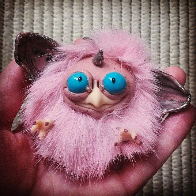 #baby #fur #owl #rose #clay #polymerclay #doll #art #furry_and_famous #bigeyes #azure #pink