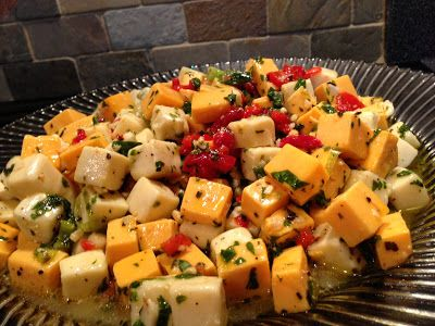 The Dishy Decorator Marinated cheese cubes.