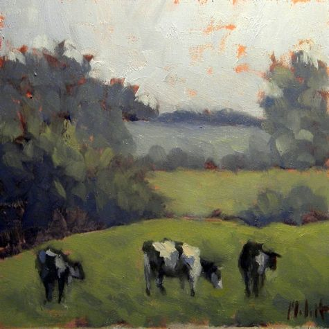 Holstein Cows Painting Summer Landscape Oil Painting, painting by artist Heidi Malott