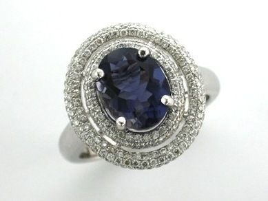 'FREYA' --   Stunning Double Oval Dress Ring, set with Baby Brilliant Cut Diamonds  and French Blue Iolite set in 18ct White Gold -  Dia.Wt. 0.77 carat