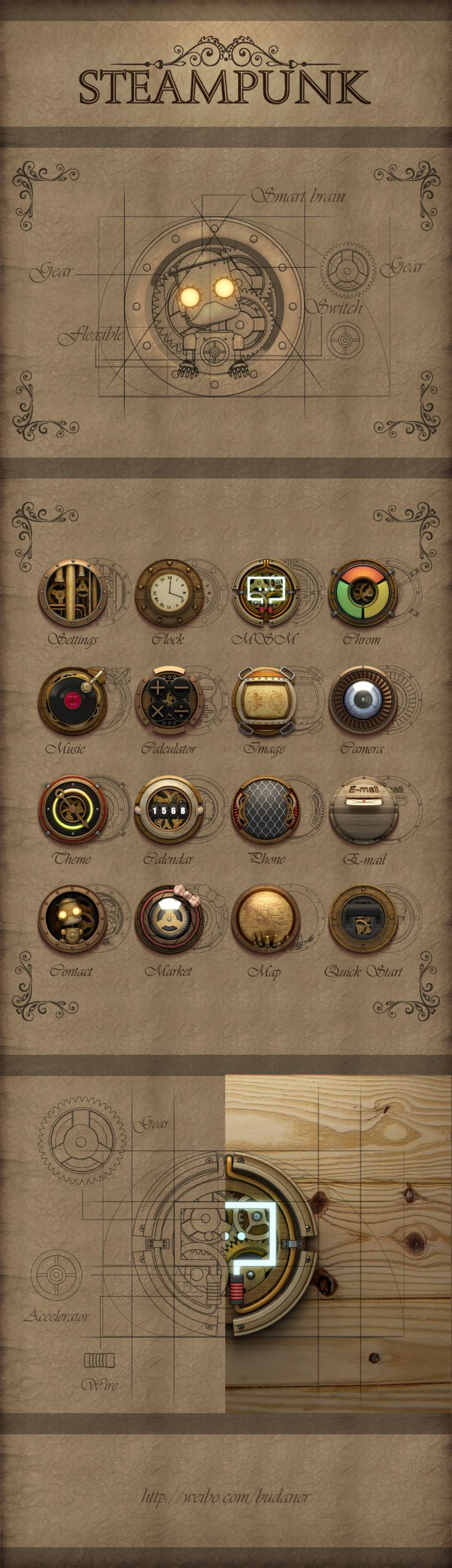 Steampunk ikon set for iPhone by aiki007, via zcool *** #icon #gui #steampunk