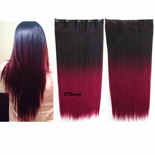 127 best beauty hair images on pinterest beauty clip in hair feshfen long straight ombre gradiente synthetic hair extensions clip in hairpieces 5 clips full head dip dye dark brown to burgundy pmusecretfo Choice Image