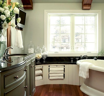 LOVE the built-ins for the towels!  @Better Homes and GardensColors Bathroom, Green Cabinets, Dreams Bathroom, Bathroom Colors Schemes, Towels Storage, Bathroom Ideas, Towel Storage, Gray Bathroom, Spa Bathroom