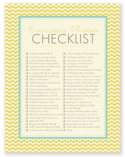 checklist of pictures to take for every season. Great lists!