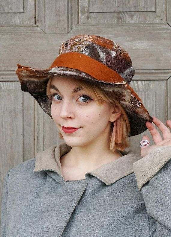 Unique chestnut-brown felted hat floppy brim bohemian style
