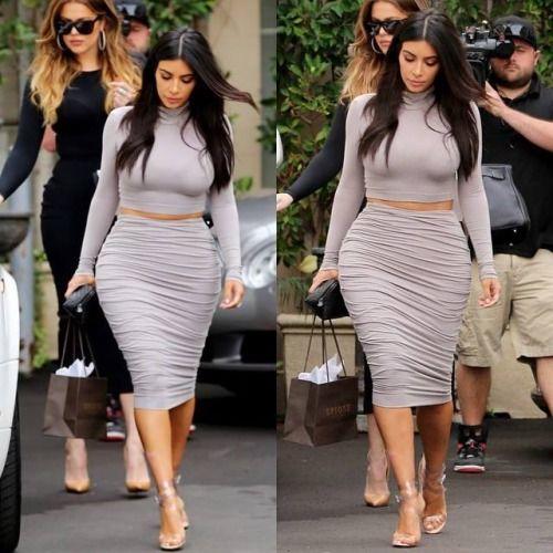 Kim Kardashian street style with crop top and pencil skirt. #kimkardashian #fabfashionfix